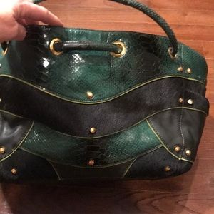 Fab Cole Haan green leather/pony hair satchel